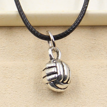 New Fashion Tibetan Silver Pendant volleyball Necklace Choker Charm Black Leather Cord Factory Price Handmade jewelry