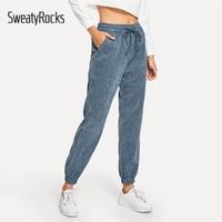 SweatyRocks Navy Drawstring Solid Corduroy Pants Elastic Waist Women Loose Pant 2018 Fashion Autumn Casual Trousers And Pants