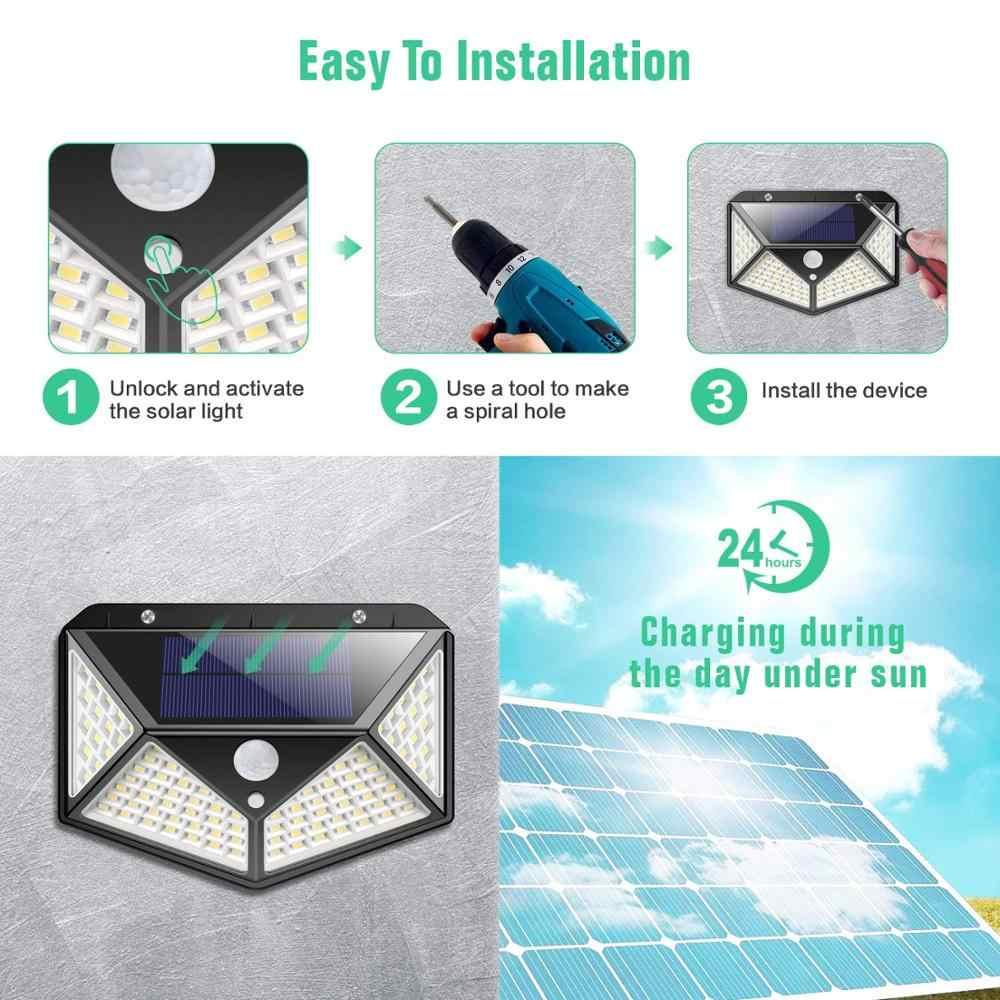 100 светодиодный настенный светильник на солнечной батарее с датчиком движения Pir, 4 стороны, открытый водонепроницаемый солнечный светильник, энергосберегающий безопасный Солнечный садовый светильник