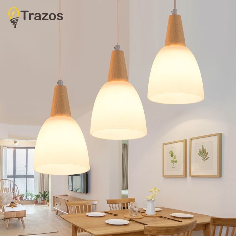 TRAZOS Nordic LED Pendant Lights For Dining Wooden Lampadario Vintage Metal Hanging Light Kitchen Light Fixtures Wood Luminaria ...