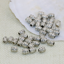Tibet silver-plated accessories 5*6mm 30pcs charms barrel tube carved spacers beads bracelets/necklaces diy jewelry B2547