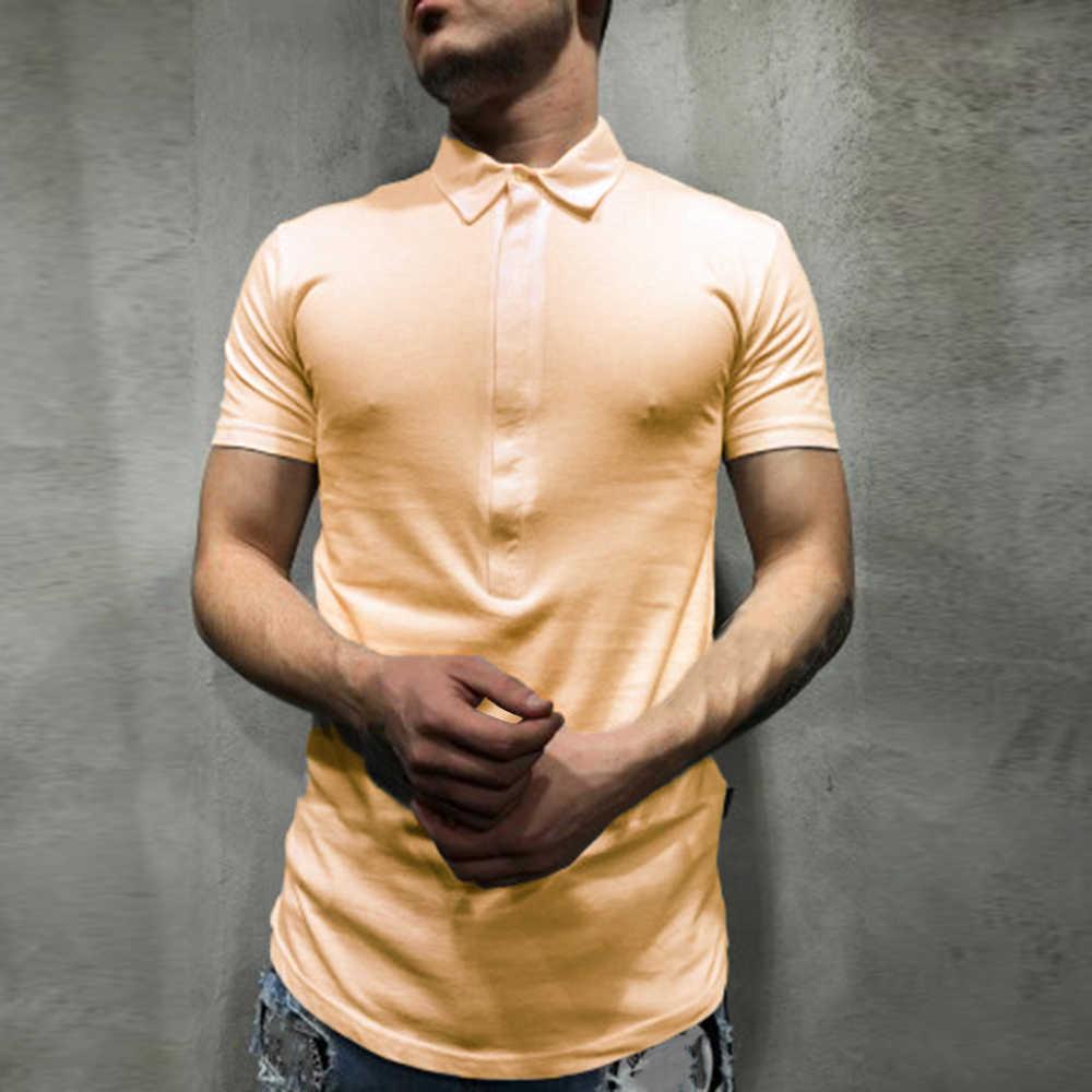 2019 男性スリム半袖ポロシャツファッション男性無地ターンダウン襟ポロシャツカジュアル 4 ボタンラペルトップ