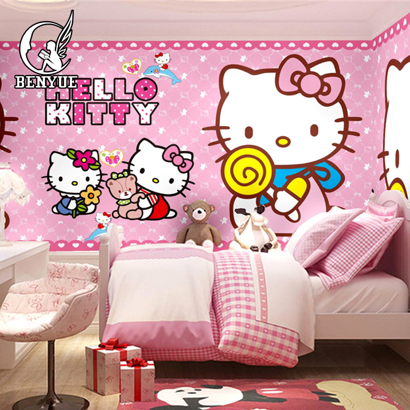Free shipping Custom size Children s Room hello Kitty cartoon