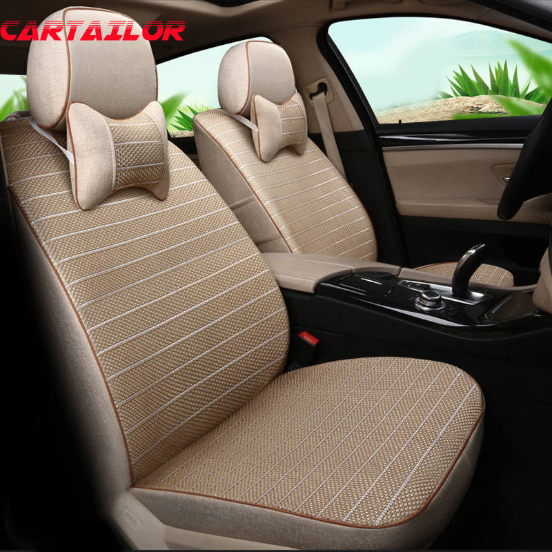 Cartailor Car Seat Cover Set Ice Silk Fit For Subaru Outback 2017 2016 Accessories Seats Protector Flax Covers