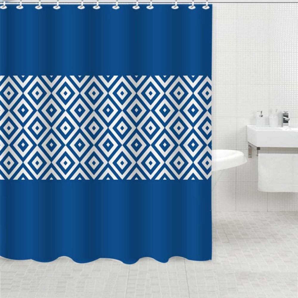 Elengt Modern Blue Geometry Fabric Shower Curtains Liners Non toxic ...