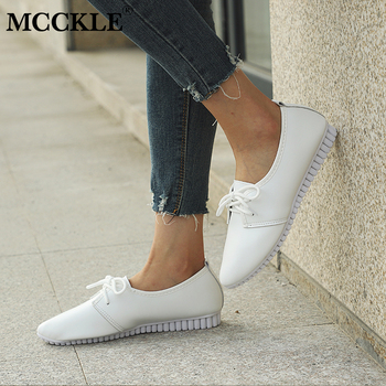 MCCKLE Women Spring Lace Up Low Heels Pointed Toe Casual Wedge Shoes Ladies High Quality PU Comfortable  Shoe Woman Leisure