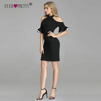 Ever Pretty 2019 New Fashion Women Cocktail Dresses EP05884 Sexy Halter Cold Shoulder Flare Sleeve Short Formal Evening Gowns Cocktail Dresses