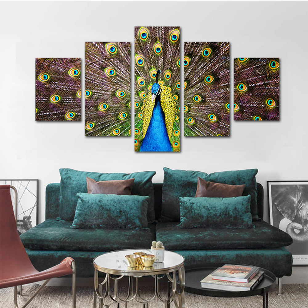 Unframed HD Print 5 Canvas Art Paintings Open Screen Peacock Canvas Mural For Living Room Decoration Picture 2018 Dropshipping