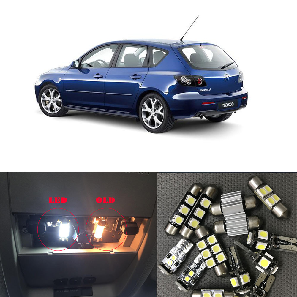 8Pcs White Canbus LED Lamp Car Bulbs Interior Package Kit For 2004-2009 Mazda 3 Map Dome Trunk Plate Light