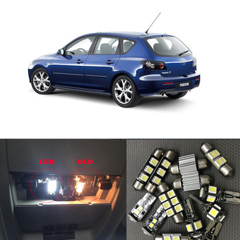 цена на 8Pcs White Canbus LED Lamp Car Bulbs Interior Package Kit For 2004-2009 Mazda 3 Map Dome Trunk Plate Light