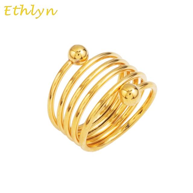 Us 454 23 Offethlyn Neuen Federn Ring äthiopischen Design Frauen Brautschmuck 22 Karat Gelb Verzinkt Goldene Women Fashion Hochzeit Ring R7 In