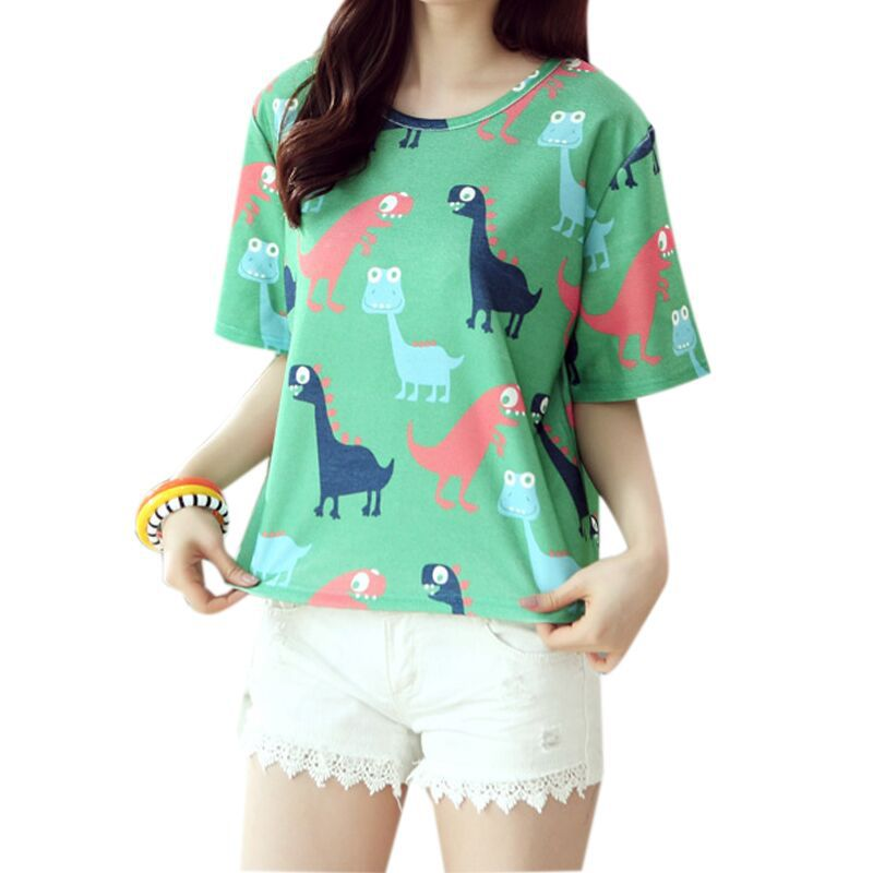 New 2015 Summer thin Korean Style fashion loose girl women's O-neck short sleeve woven dinosaurs print women t shirt 1026