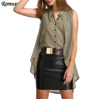 ROMWE Summer V Neck Layered High Low Blouses Ladies New Arrival Tops Sleeveless Plain Green Casual