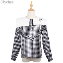 Qlychee Autumn Winter Lace Embroidery Blouse Peter Pan Collar Female Plaid Shirt Floral Print Lantern Sleeve Lady Office Top