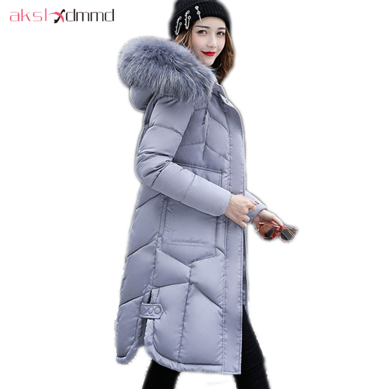 AKSLXDMMD Plus Size Women Winter Jacket 2017 New Thick Padded-cotton Big Fur Collar Hooded Long Slim Coat Fashion Parkas LH1086 akslxdmmd parkas mujer 2017 new winter women jacket fur collar hooded printed fashion thick padded long coat female lh1077