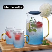 Gradient Color Marble Cold Water Glass Bottle High Temperature Resistant Jar Jug Kettle  HYD88