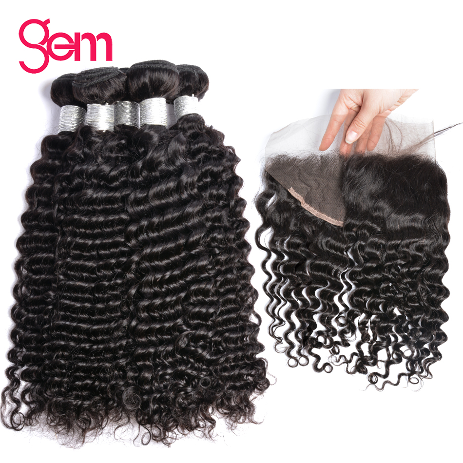 Brazilian Deep Wave Bundles With Frontal 100 Human Hair Weave Bundles With Closure 13 4 Gem