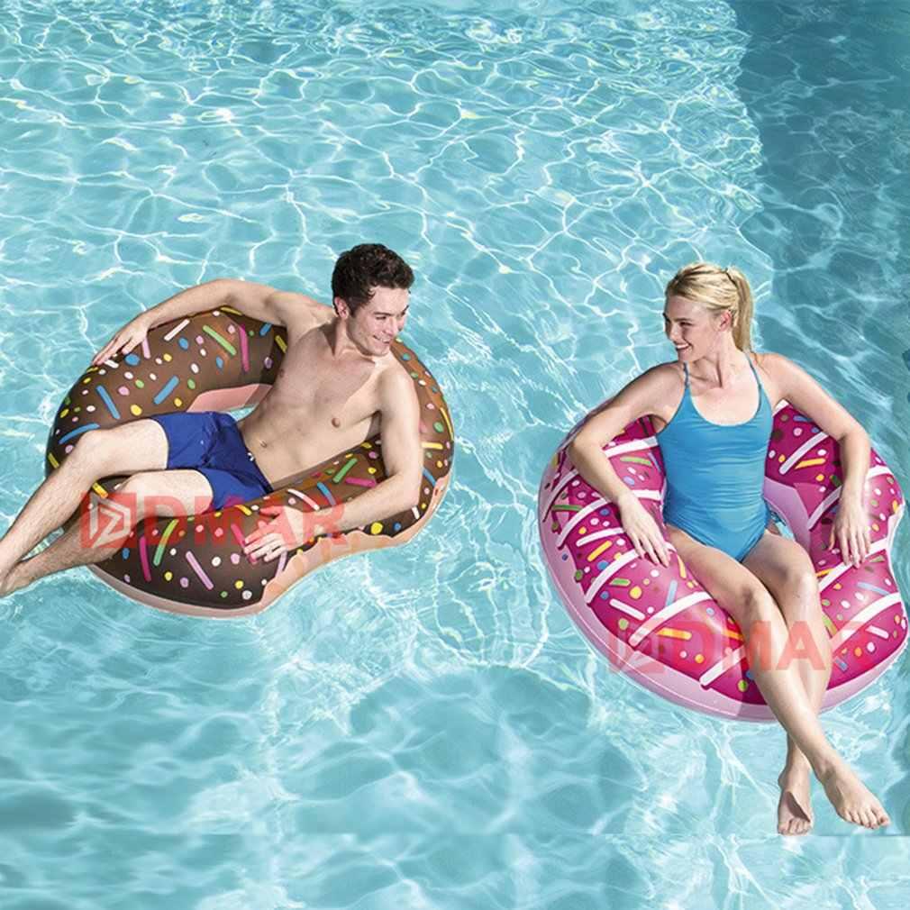 Inflável donut natação anel gigante piscina flutuador brinquedo círculo praia mar festa inflável colchão de água adulto criança venda quente dropship