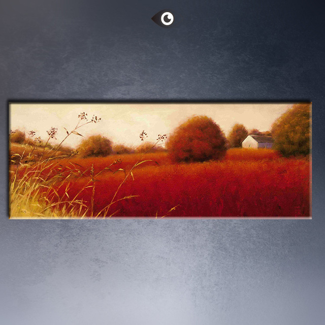 Rolling Scarlet Hills By Artist James Wiens Print Wall Painting On Canvas Double Portrait Oil