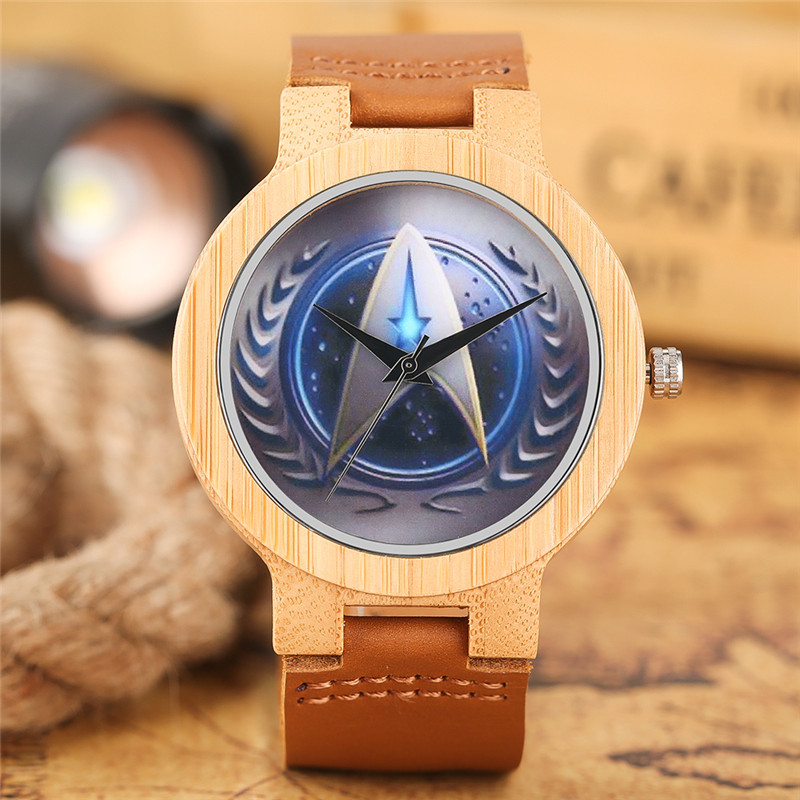 Bamboo Watches Creative Star Trek Dial Quartz Wooden Watch Men Casual Genuine Leather Band 2018 New Nature Handmade Clock Gift simple handmade wooden nature wood bamboo wrist watch men women silicone band rubber strap vertical stripes quartz casual gift