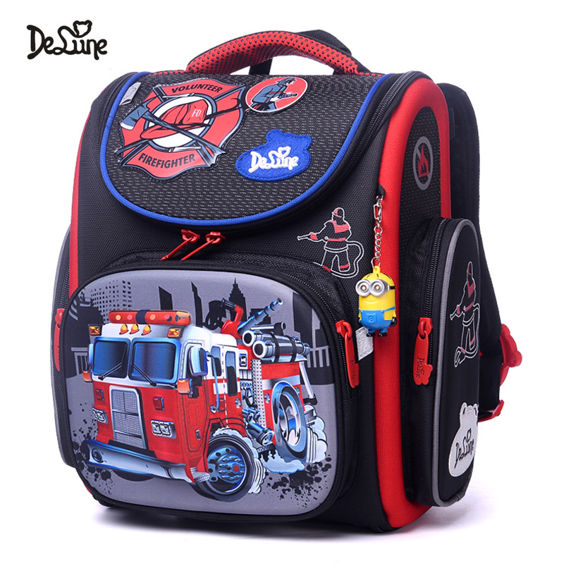 2018 Delune Brand High Quality Orthopedic School Bags For Boys Car Pattern Children Primary School Backpack Mochila Infantil