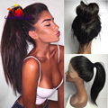 Natural Looking High Ponytail Straight Hair Wigs Black Color 180 Density Silky Straight Synthetic Lace Front Wig For Black Women