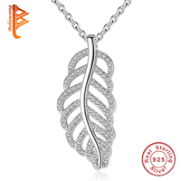 BELAWANG 925 Sterling Silver Sparkling Tropicana Palm Leaves Long Pendant Necklace Clear CZ Women Necklaces Fashion