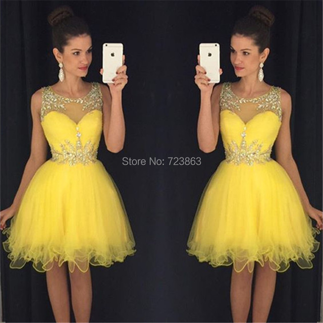XH-210 New Arrival Short Prom Dresses 2017 Scoop Tank Sexy Ball Gown  Crystal Puffy Party Dress For Girls Homecoming Dresses 360d018f5519