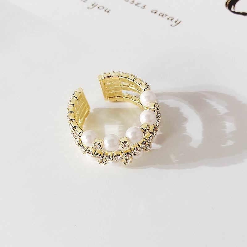 MENGJIQIAO 2019 เกาหลีใหม่ Multilayer Rhinestone จำลองไข่มุกเปิดแหวนมือเครื่องประดับงานแต่งงานของขวัญแหวน