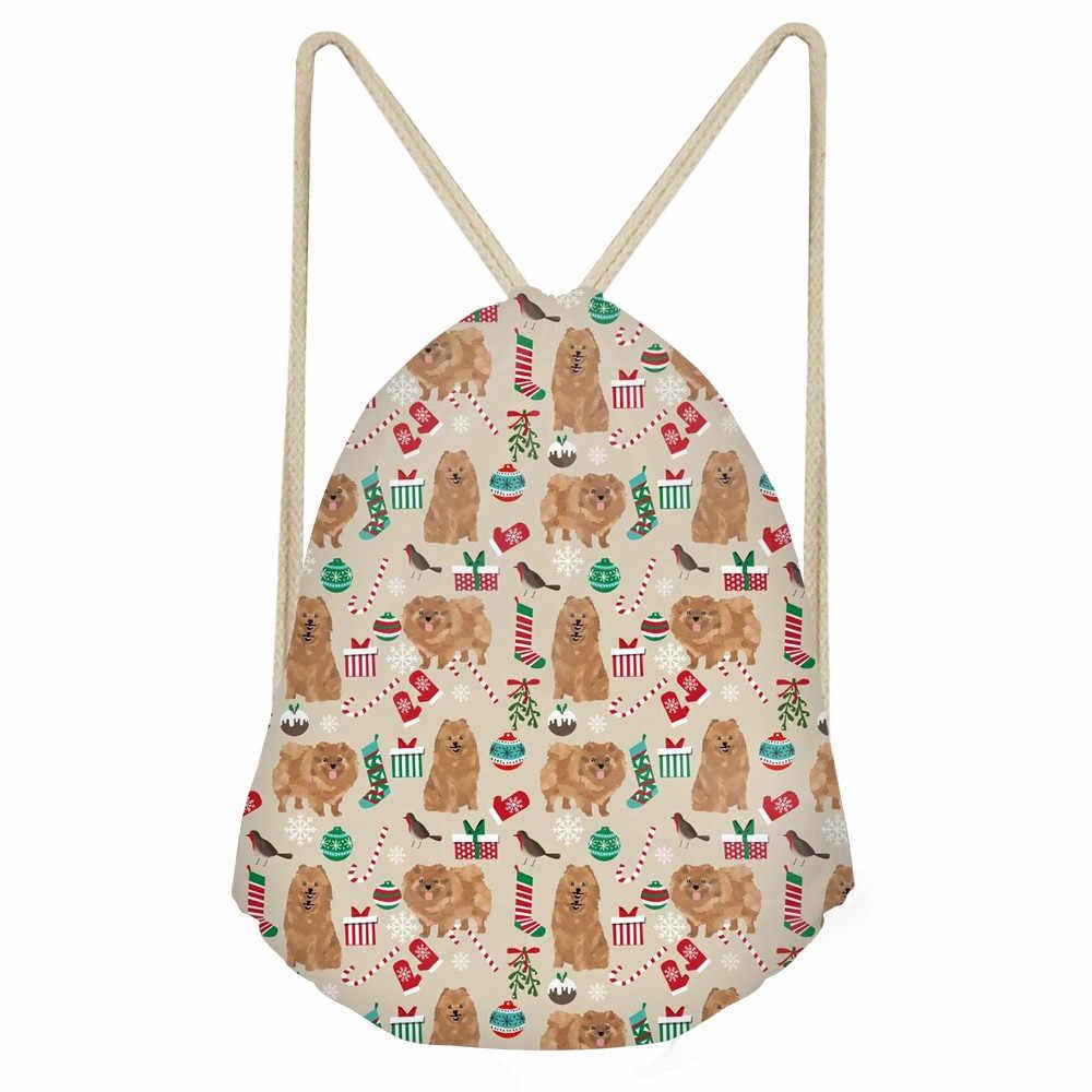 Забавная собака померанский принт, сумки на шнурках для девочек, повседневные, мягкие, рождественский подарок, Детские рюкзаки, большой мешок, сумка