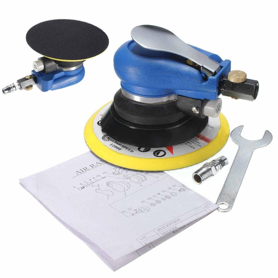 Mayitr Sanding Pad Vacuum Polisher 6 Air Random Orbital Palm Sander Auto Body Orbit DA Pneumatic Grinding Polishing Machine