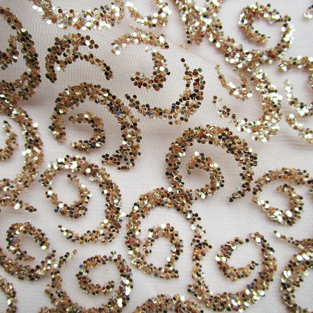 4 Yards French Glue Sequins Lace fabric 3D Print Glitter Evening dresses  champagne gold Net fabric African Wedding prom cloth c76f265e317f