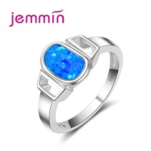 Jemmin Fine Jewelry Women Accessory 925 Silver Ring For Party Engagement Geometric Blue Opal Rings Bridal Wedding Bands Anillos