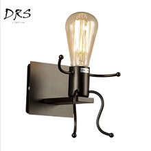 American Rural Iron Art Wall Lamp Retro White black red Bedroom Bedside Wall Lights Wall Aisle