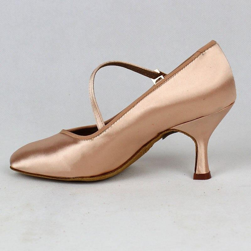 Femmes Standard chaussures de danse BD 138 Classique Frais Tan Satin Haut Bas Talon Dames Salle De Bal chaussures de danse Semelle Souple De Danse Moderne - 3