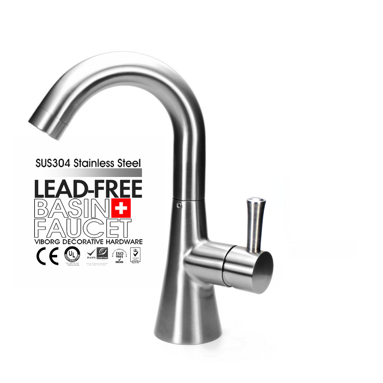 ФОТО VIBORG Deluxe SUS304 Stainless Steel Casting Lead-free Swivel Bathroom Basin Vessel Sink Mixer Tap Faucet SATIN NICKEL BRUSHED