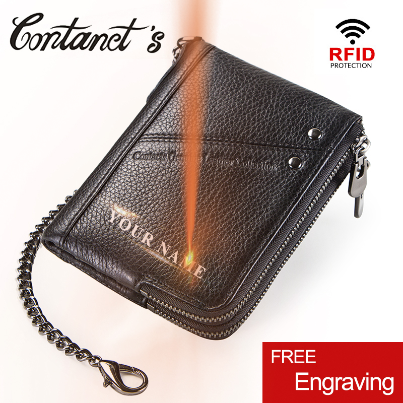 Contact's Genuine Leather Men Wallet Rfid Coin Purse Card Holder Fashion Small Walet Brand Design Male Clutch Zipper Money Bag contact s genuine leather men wallet coin purse card holder zipper small clutch male bags travel walet money bag organizer purse