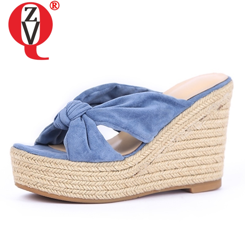 ZVQ shoes woman 2019 summer new fashion super high wedges platform flock woman slippers outside open