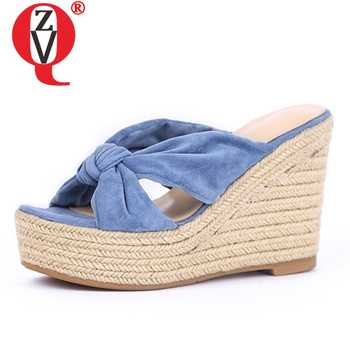 ZVQ shoes woman 2019 summer new fashion super high wedges platform flock woman slippers outside open toe ladies shoes size 34-39 - SALE ITEM Shoes