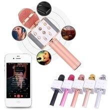 2018 Новый беспроводной микрофон для караоке, Bluetooth колонка, трек, объемный звук, голосовой Q7, металлический беспроводной микрофон
