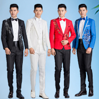 Paillette Costume Male Flower Sequins Formal Dress Mens Slim Suits Mariage Singer Stage Black White Red