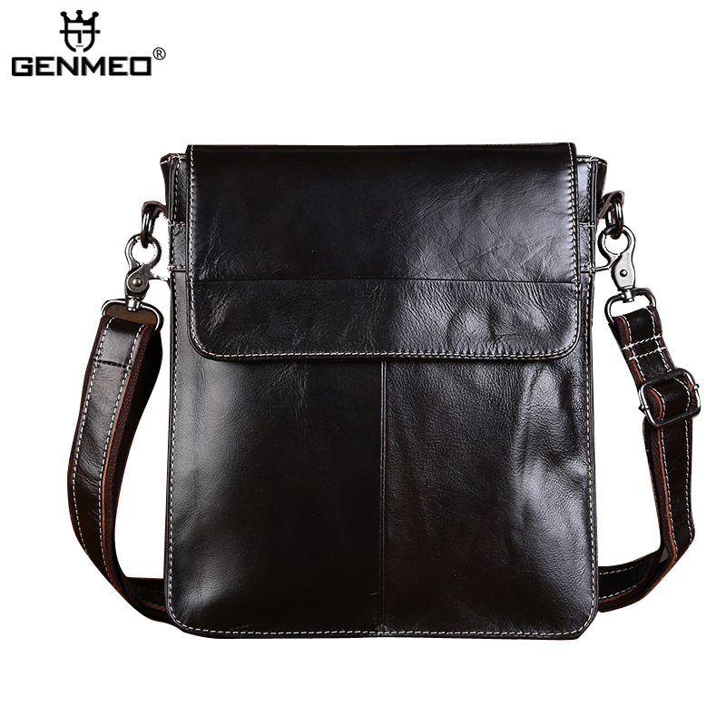 New Arrival Vintage Genuine Leather Single Shoulder Bag Men Cow Leather Handbags Retro Messenger Bag цены