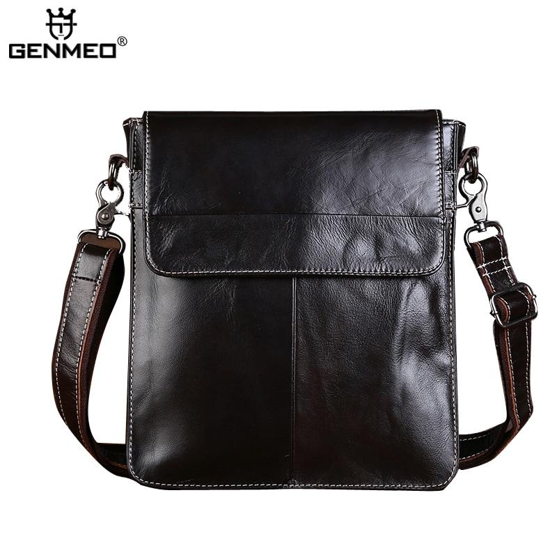 все цены на New Arrival Vintage Genuine Leather Single Shoulder Bag Men Cow Leather Handbags Retro Messenger Bag