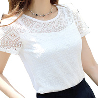 2017 Women Clothing Chiffon Blouse Lace Crochet Female Korean Shirts Ladies Blusas Tops Shirt White Blouses slim fit Tops