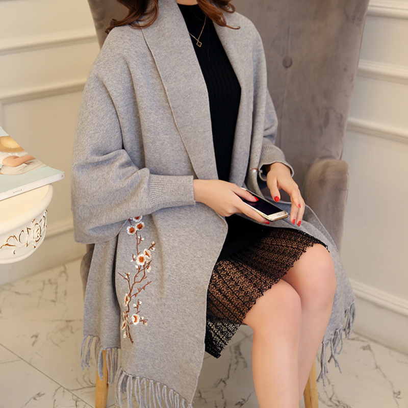 Open Style Tassel Coat Elegant Poncho Grey brown red Winter Sweater Pull Shawl Stitch Autumn Cardigan Women Female Ladies black And q78WO7Z