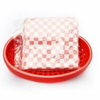 6 szt. Szybki kosz na jedzenie plastikowy kosz na Hot Dog 24 szt. Czarne sprawdzone wkładki Hamburger chleb frytki taca do serwowania kanapek w Naczynia i talerze od Dom i ogród na