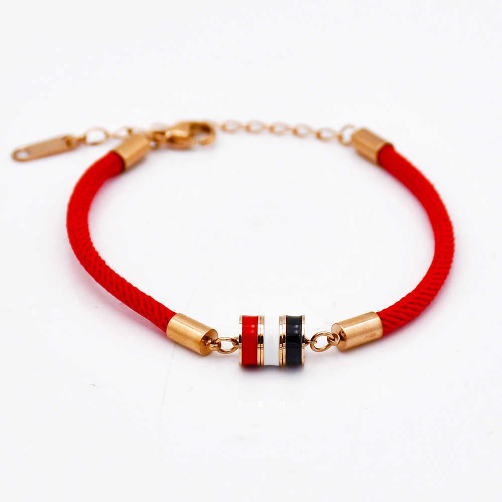 QLZBAO 新ファッション女性 & 男性チャーム赤ロープブレスレット三層赤、白と黒ブレスレット女性 Pulseira ジュエリー