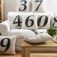 Free Shipping Vintage Letter Number Square Throw Pillow Almofadas Case Child Kid European American Cushion Cover