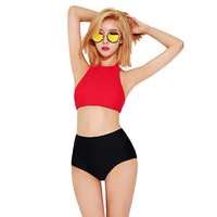 High Quality Hot Red Top Neck Sexy Women Bikini Swimwear High Waist Surfing Sport Girl Swimsuit