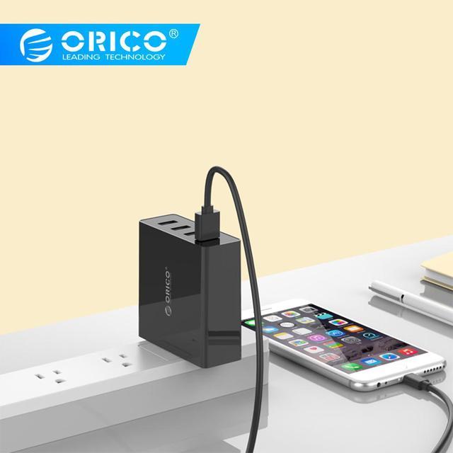 ORICO DCW 4U 4 Poorten Muur USB Telefoon Oplader 5V2. 4A * 4 6A30W Totale Output Smart control Chip Zwart/Wit
